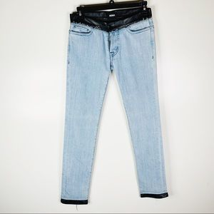 Hudson Leather Trim Button Fly Cropped Jeans 27